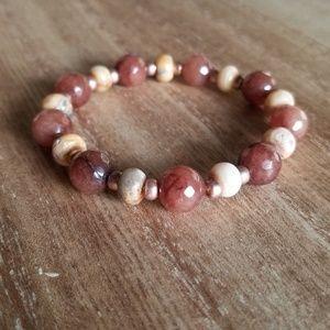 Jewelry - Chocolate Jade + Crazy Agate Stretch Bracelet